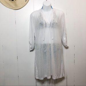 Balance White Semi Sheer Swim Cover w/ Hood